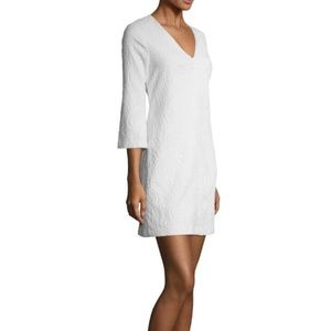 NEW Shoshanna Textured White Back Zip Shift Dress